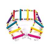 LESYPET Colorful Ladder Bird Toy, Flexible Ladders Wooden Rainbow Bridge for Parrots Pet Trainning 12-Step