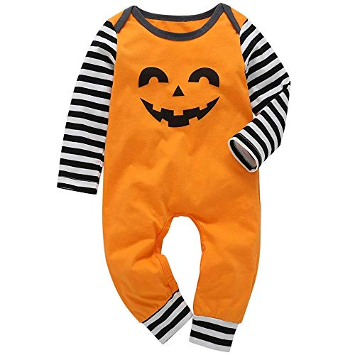 Happy Kido Halloween Infant Toddler Baby Boys Girls Jumpsuit Pumpkin Smile Face Bodysuit Long Sleeve Striped Romper Fall Clothes Set (Orange, 0-6 Months) ()