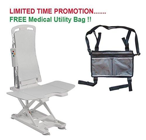 Drive Bellavita Tub Chair Seat Auto Bath Lift, White & FREE Medical Utility Bag Gray! - #477200252 by Drive