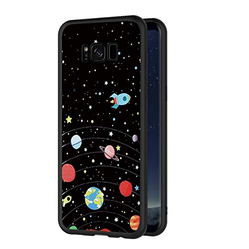 Eouine Samsung Galaxy S8 Plus Case, Phone Case Silicone Black with Pattern Ultra Slim Shockproof Soft Gel Back Cover Protective Bumper Skin for Samsung Galaxy S8 Plus Smartphone (Stars Sky)