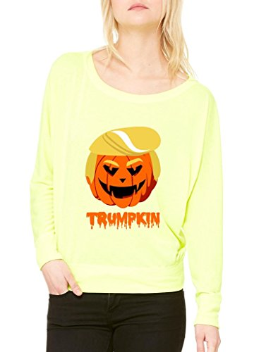 Xekia Trumpkin Donald Trump Halloween Costume Fashion People Best Friend Gifts Women Flowy Off Shoulder T-shirt Small Neon (Yellow Cat Costume Contact Lenses)