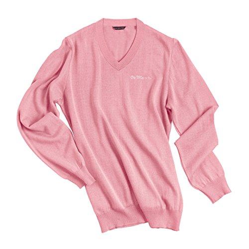 DE MARCHI - HERITAGE PULLOVER - PINK Soft Cotton V Neck T-Shirt Medium