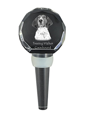 Treeing Walker Coonhound, Crystal Wine Stopper with Dog,, New (New Treeing Walker)