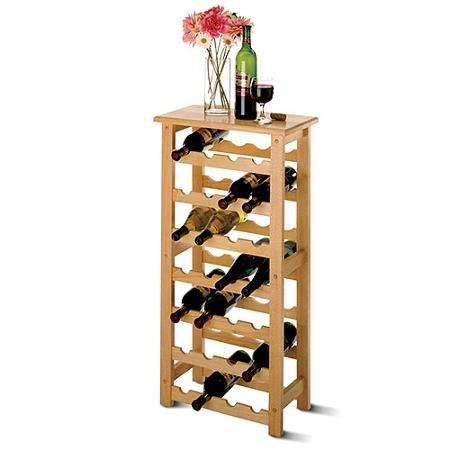 Beechwood Finish Table (Solid hardwood 24-Bottle Compact-Sized Wine Rack, Natural beechwood finish)