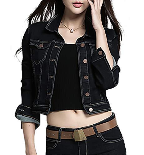 SUSIELADY Women Casual Denim Jacket Jeans Tops Half Sleeve Trucker Coat Outerwear Girls Fashion Slim Outercoat Windbreaker (S, Navy-5398) ()