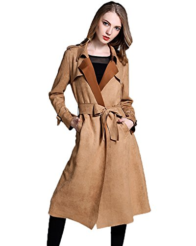 Suede Two Pocket Coat - Fitaylor Women Suede Trench Coats Lapel Belted Duster Long Jacket(S, Brown)