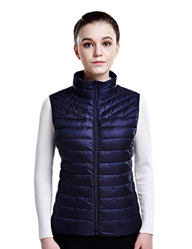 - Puredown Women's Down Packable Puffer Vest, Navy, XS Size
