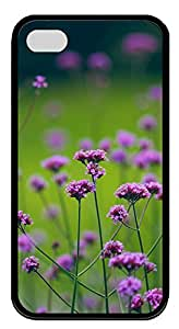 iPhone 4 4s Cases & Covers - Glamorous Purple Flowers TPU Custom Soft Case Cover Protector for iPhone 4 4s - Black