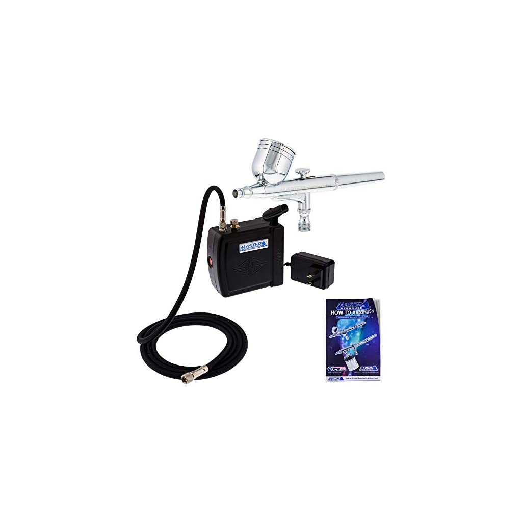 Master-Airbrush-Multi-Purpose-Airbrushing-System-Kit-with-Portable-Mini-Air-Compressor-Gravity-Feed-Dual-Action-Airbrush-Hose-How-to-Airbrush-Guide-Booklet-Hobby-Craft-Cake-Decorating-Tattoo