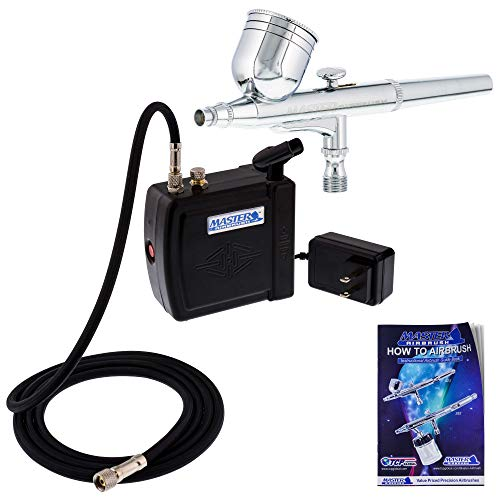 Master Airbrush Multi-Purpose Airbrushing System Kit with Portable Mini Air Compressor - Gravity Feed Dual-Action Airbrush