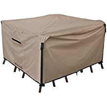 """Square/Round Patio Heavy Duty Table Cover 600D Tough Canvas 100% Waterproof & UV-resistant Outdoor Dining Table Chair Set Cover Size 74""""(L)x74""""(W)x28""""(H)"""