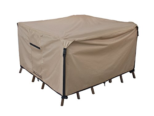 3 Seater Bench Set (Square/Round Patio Heavy Duty Table Cover 600D Tough Canvas 100% Waterproof & UV-resistant Outdoor Dining Table Chair Set Cover Size 74