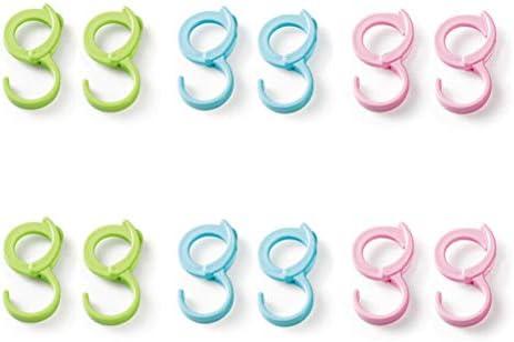 BESTOMZ 6 Piezas en Forma de S Ganchos Colgantes Perchas para sartenes ollas Plantas Bolsas Toallas (Verde/Azul / Rosa)