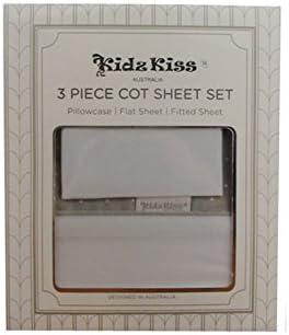 Kidz Kiss Petit Dots Grey Premium Cotton 3 Piece Cot Sheet Set