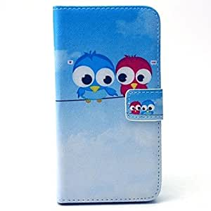 DD 20150511 Cartoon Colored Drawing Owl PU Leather Full Body Case with Kickstand and Card Slot for Samsung Galaxy S6