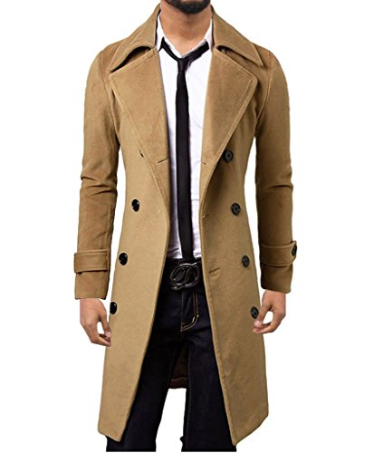 Brown Trench (WSLCN Mens Winter Trench Coat Long Jacket Double Breasted Overcoat Light Brown US S (Asian L))
