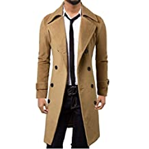 WSLCN Mens Winter Trench Coat Long Jacket Double Breasted Overcoat