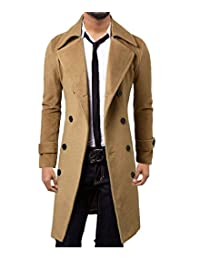 Elonglin Mens Casual Overcoat Trench Coat Double Breasted