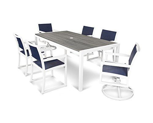 (Parsons 7-Piece Dining Set in Satin White / Island Mist / Sapphire)
