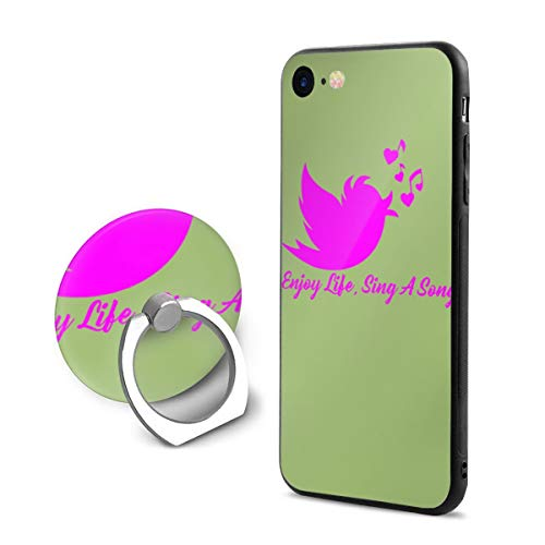 Enjoy Life Sing A Song iPhone 7/8 Case with 360 Rotating Ring Holder Slim Fit Hard PC Protective Shock-Absorption Anti-Scratch Case Back Cover for iPhone 7/8]()