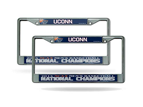 Rico UCONN Huskies 2014 Mens Basketball Champs (Set of 2) Chrome License Plate Frames - University of Connecticut