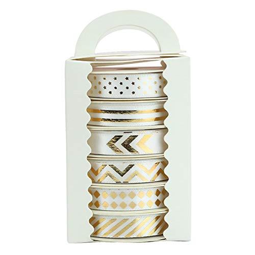 Midi Ribbon White Color Gold Pattern Satin Ribbon Assorted, 3/8