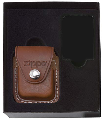 (Zippo Gift Set w/ Brown Leather Clip Pouch (Lighter NotIncluded) - LPGS/LPCB)