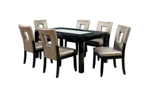 Furniture of America Helena 7-Piece Dining Set, High Gloss Lacquer Black - Lacquer Dining Table Set