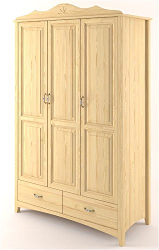 Kleiderschrank Kiefer Vollholz massiv natur Turakos 01 - Abmessung 124 x 214 x 60 cm (B x H x T)