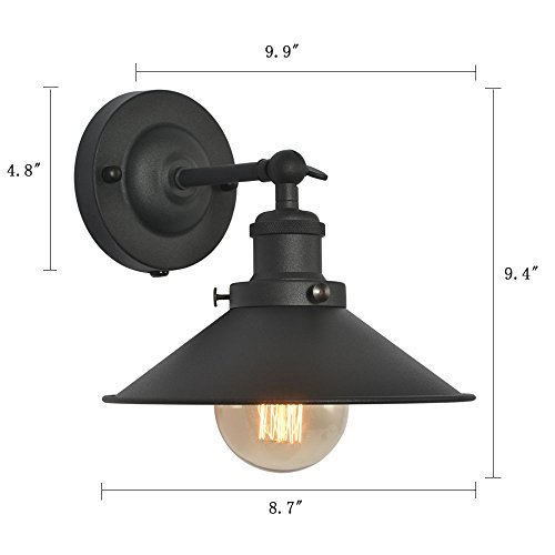 XIDING Premium Retro Industrial Edison Simplicity Metal Wall Sconce Light Fixture,Upgrade Black Finish Shade Vintage Swing Arm Wall Lamp, E26 Base, 1 Light by XIDING (Image #1)