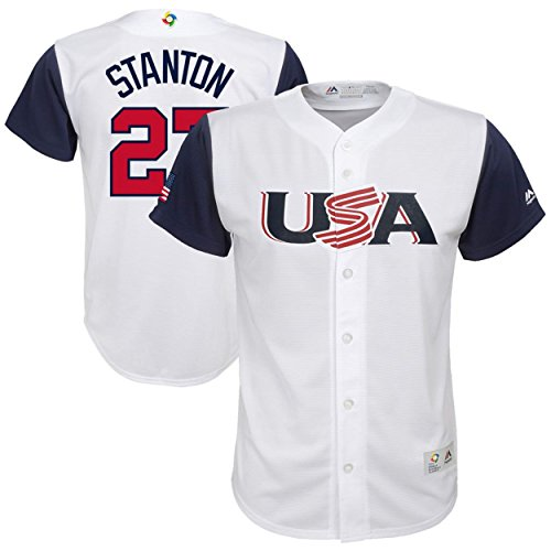 (Giancarlos Stanton USA 2017 World Baseball Classics Official White Youth Replica Jersey (Small 8))