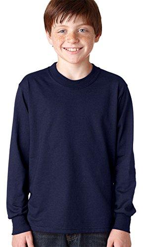 - Jerzees Youth Heavyweight Blend Long-Sleeve T-Shirt, J Nvy, Small