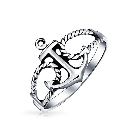 925 Sterling Silver Anchor and Rope Nautical Band Ring - 7
