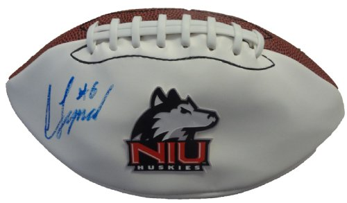 Jordan Lynch Autographed Northern Illinois University Logo Football W/PROOF, Picture of Jordan Signing For Us,...
