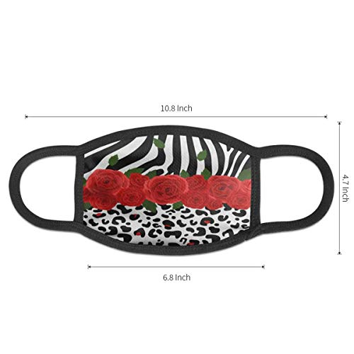 Dust Mask Red Flower Animal Zebra Print Antiviral Face Mask Cover Anti-dust Reusable Windproof Half Face Mouth Warm Masks for Ski Bicycle Cycling Motorcycle Women Men