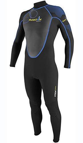 Phantom Aquatics Men's Voda Premium Stretch Full Wetsuit, Black Blue, Large Super Stretch Full Wetsuit