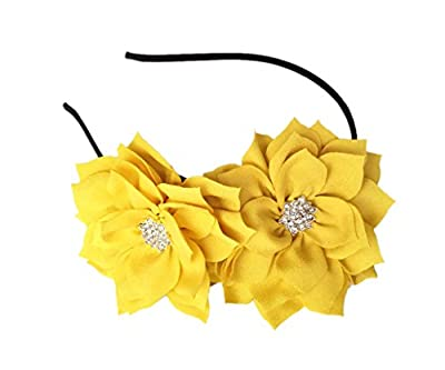 Fascinator Headband Hair Clip Lotus Flower Bridal Wedding Party Cocktail Headwear (Yellow)