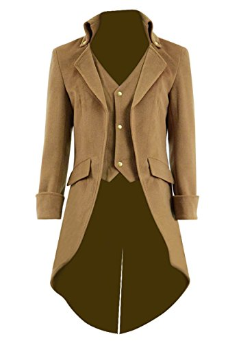 Very Last Shop Mens Gothic Tailcoat Jacket Black Steampunk Victorian Long Coat Halloween Costume (US Men-XL, Light Tan(Woolen))