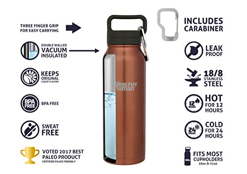 Healthy Human Insulated Stainless al norma container Thermos suitable for Sports Outdoors Men Women Kids Leak Proof Cold 24 Hours Sunset Gold 21 oz Sports norma Bottles