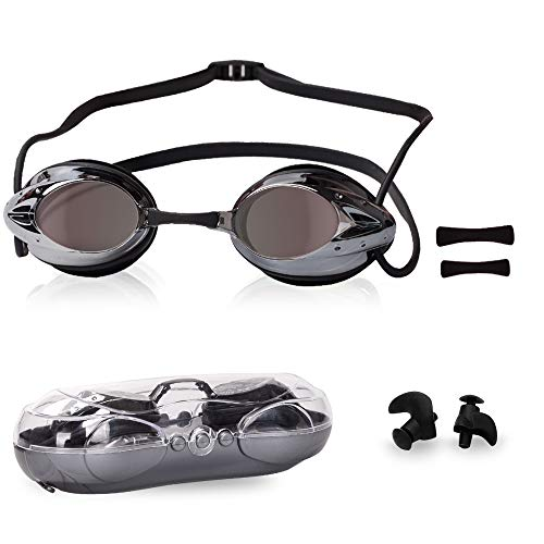 VIVID Swimming Adults Goggles for Men Women Swimming Goggles No Leaking Anti Fog UV Protection Swim Goggles Clear Lens Anti Fog Waterproof Swimming Goggles Competition with Nose Clip Swimming Earplugs ()