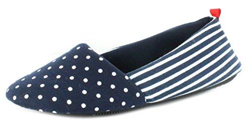 NEUF FEMMES/FEMMES GRIS BALLERINE STYLE Pantoufles avec pois Modèle MARINE - tailles UK 3-8