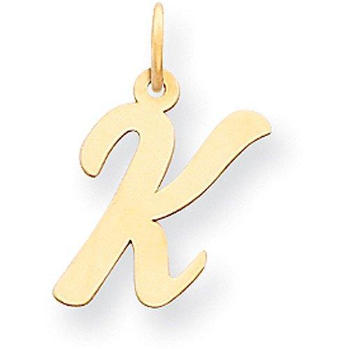 14k Yellow Gold Cursive Script Initial Pendant - Letter K - Yellow Gold (14k Yellow Slide)