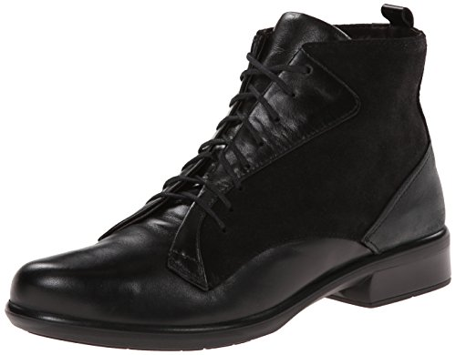 Naot Women's Mistral Boot, Black Madras/Black Shiny Leather, 38 EU/7 M US by NAOT