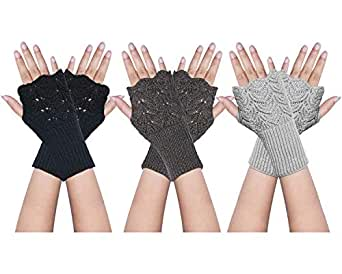 YSense 2 Pairs Womens Winter Warm Hand Crochet Knit Thumb Hole Fingerless Arm Warmers Gloves