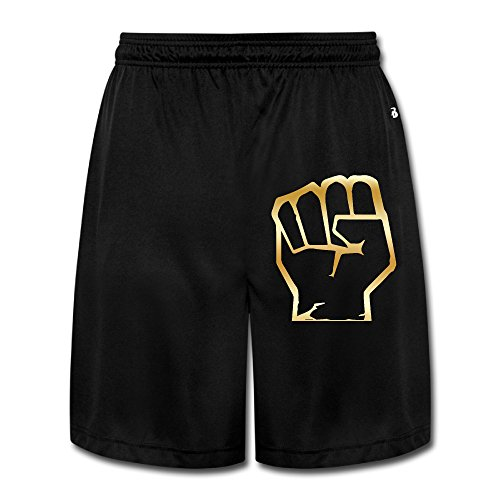 Mens Hulk Fist Symbol Gold Logo Workout Pants Shorts Chic Paper