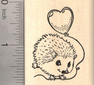 (Valentine's Day Hedgehog Flying with Heart Balloon Rubber Stamp)
