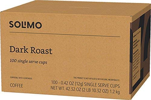 Brand - 100 Ct. Solimo Dark Roast Coffee Pods, Compatible with Keurig 2.0 K-Cup Brewers
