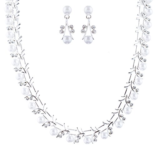 ACCESSORIESFOREVER Bridal Wedding Prom Fashion Jewelry Set Crystal Rhinestone Pearl Sophisticated Silver White