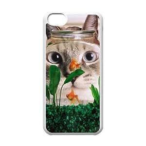 iPhone 5C Case,Funny Cat Fish Tank Hard Shell Back Case for White iPhone 5C Okaycosama365453