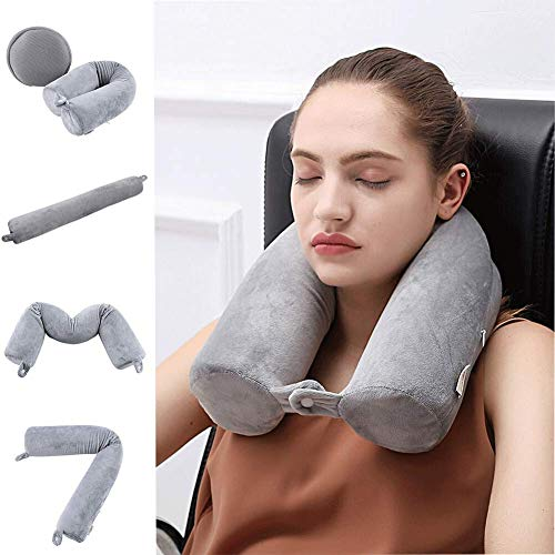 - Cotton Li SA Neck Pillow for Travel Home, Portable Head Cervical Support Rest Cussion Twist Adjustable Bendable Memory Foam Roll Pillow for Flight/Road Trips, Office Nap, Camping - Grey